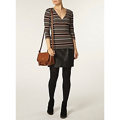 Dorothy Perkins - Black and toffee wrap top
