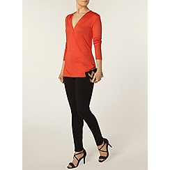 Dorothy Perkins - Tomato long sleeved wrap top