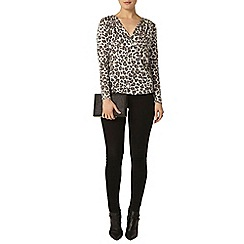 Dorothy Perkins - Ivory leopard wrap jersey knit top