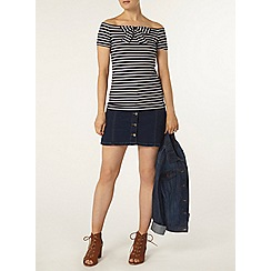 Dorothy Perkins - Navy stripe bow bardot top