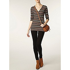 Dorothy Perkins - Tall black and toffee wrap top