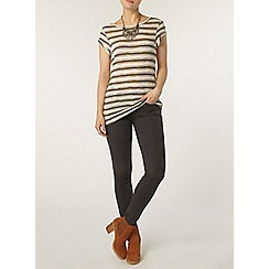 Dorothy Perkins - Ivory and khaki metallic stripe t-shirt