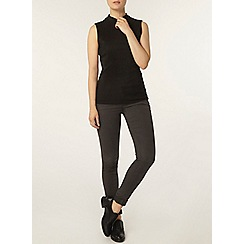 Dorothy Perkins - Black crinkle mock neck top