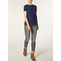 Dorothy Perkins - Blue rib belted top