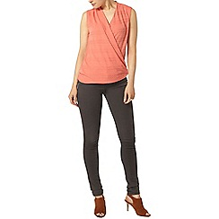 Dorothy Perkins - Coral textured wrap top