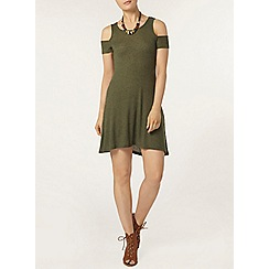 Dorothy Perkins - Khaki rib cold shoulder tunic
