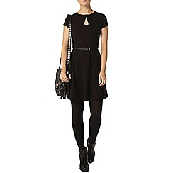 Dorothy Perkins - Black keyhole belted dress
