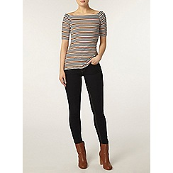 Dorothy Perkins - Navy and toffee stripe bardot top