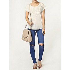Dorothy Perkins - Oat lace panel t-shirt