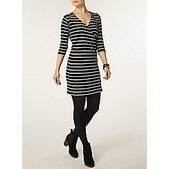 Dorothy Perkins - Navy and ivory rib wrap tunic