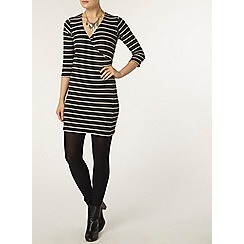 Dorothy Perkins - Charcoal and ivory rib wrap tunic