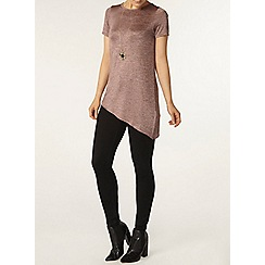Dorothy Perkins - Pink spacedye asymmetric t-shirt