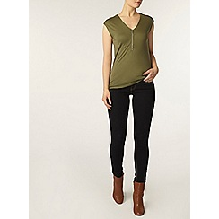 Dorothy Perkins - Khaki zip front t-shirt