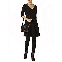 Dorothy Perkins - Black v neck belted dress