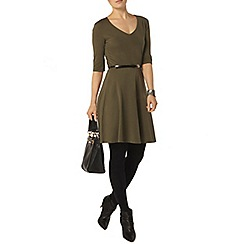 Dorothy Perkins - Khaki v neck belted dress