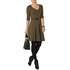 Dorothy Perkins - Khaki v neck belted dress