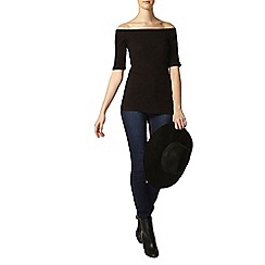 Dorothy Perkins - Black rib bardot top