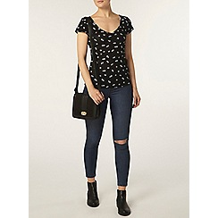 Dorothy Perkins - Black ditsy rib sweetheart top