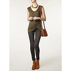 Dorothy Perkins - Tall khaki knot front t-shirt