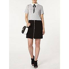 Dorothy Perkins - Grey tie neck collar top