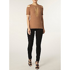 Dorothy Perkins - Toffee soft cold shoulder top