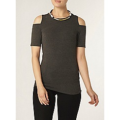Dorothy Perkins - Charcoal soft cold shoulder top