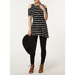 Dorothy Perkins - Black stripe cold shoulder top