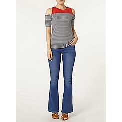 Dorothy Perkins - Red stripe cold shoulder top