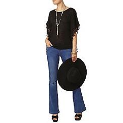 Dorothy Perkins - Black fringe trim kimono top