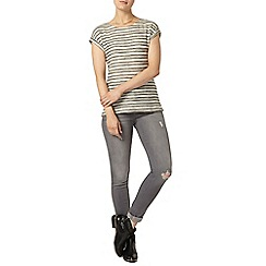 Dorothy Perkins - Grey stripe injection stripe jersey t-shirt
