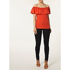 Dorothy Perkins - Red ruffle bardot top