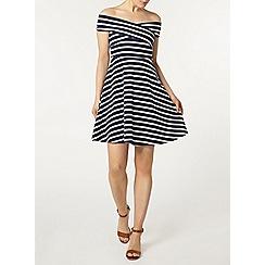 Dorothy Perkins - Navy stripe bardot dress