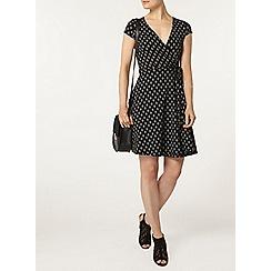 Dorothy Perkins - Black geo print wrap dress