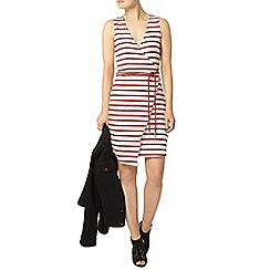 Dorothy Perkins - Red stripe wrap dress