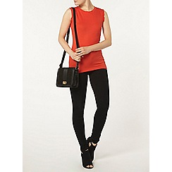 Dorothy Perkins - Red ruffle neck rib top