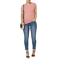 Dorothy Perkins - Coral textured stripe t-shirt