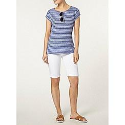 Dorothy Perkins - Cobalt textured stripe t-shirt