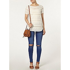 Dorothy Perkins - Ivory perforated t-shirt