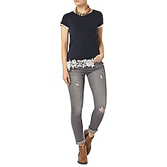 Dorothy Perkins - Navy and ivory rose lace hem tee