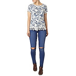 Dorothy Perkins - Ivory china bird lace hem t-shirt