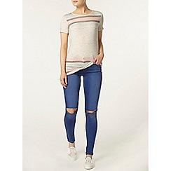 Dorothy Perkins - Grey pastel stripe t-shirt