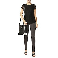 Dorothy Perkins - Black button shoulder lace tee