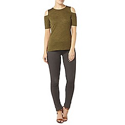 Dorothy Perkins - Khaki cold shoulder top