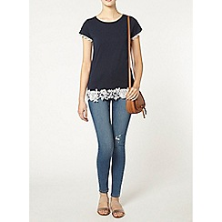 Dorothy Perkins - Tall navy rose lace hem tee