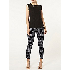 Dorothy Perkins - Black mixed lace shell top