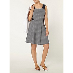 Dorothy Perkins - Navy geo button pinafore dress