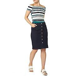 Dorothy Perkins - Green stripe bardot t-shirt