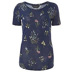 Dorothy Perkins - Navy botanical curve hem t-shirt