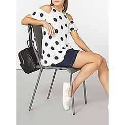 Dorothy Perkins - Ivory and navy spot cold shoulder top