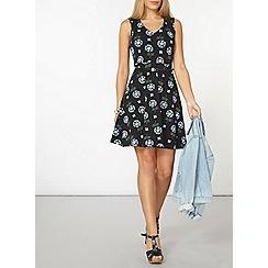 Dorothy Perkins - Black floral v-neck dress